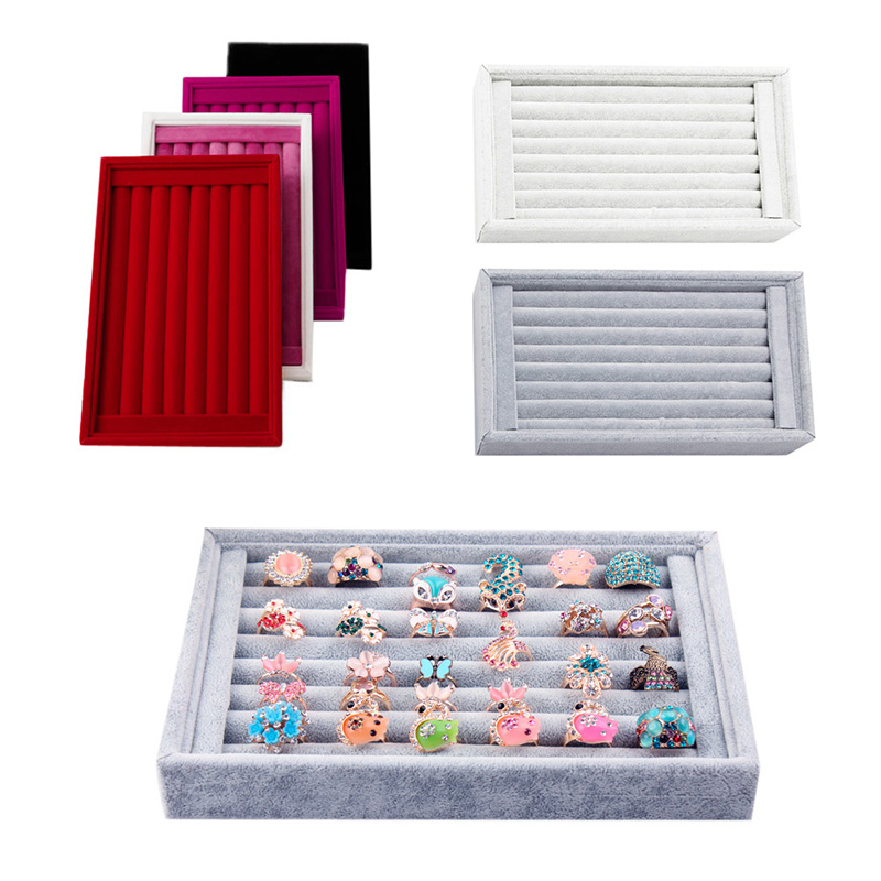 1Pcs Ring Jewelry Display Show Case Organizer Box Tray Showcase Earring Holder 6colors