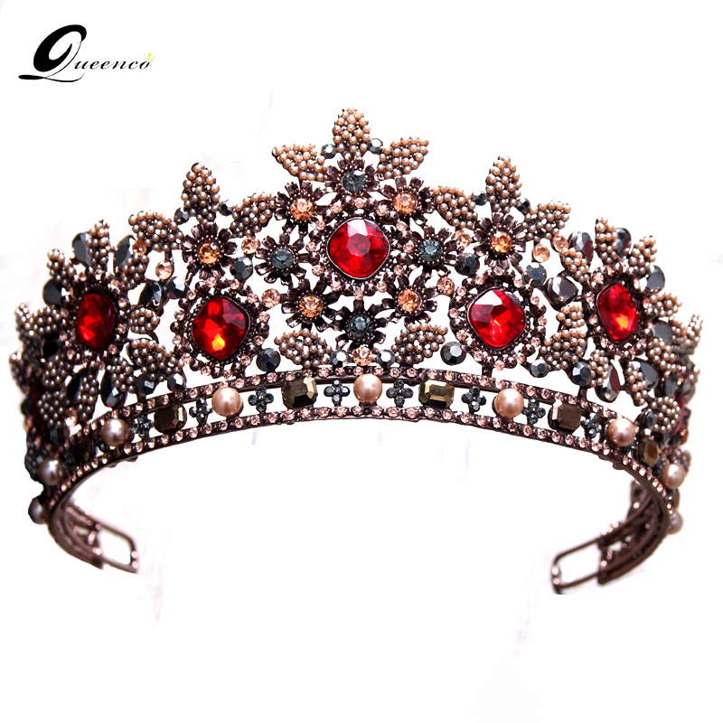 Baroque Queen Crowns Fashion Wedding Bridal Crown Red Crystal Bridal Tiara Retro Diadem Women Hair Accessories Beauty Headbands baroque pink rhinestone pearl bridal crowns handmade tiara headband crystal wedding diadem queen crown wedding hair accessories