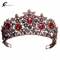 Baroque Queen Crowns Fashion Wedding Bridal Crown Red Crystal Bridal Tiara Retro Diadem Women Hair Accessories Beauty Headbands