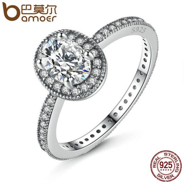 BAMOER 100% 925 Sterling Silver Vintage Elegance & Clear CZ Anello di Fidanzamento per Le Donne Nozze Sterling Silver Jewelry PA7608