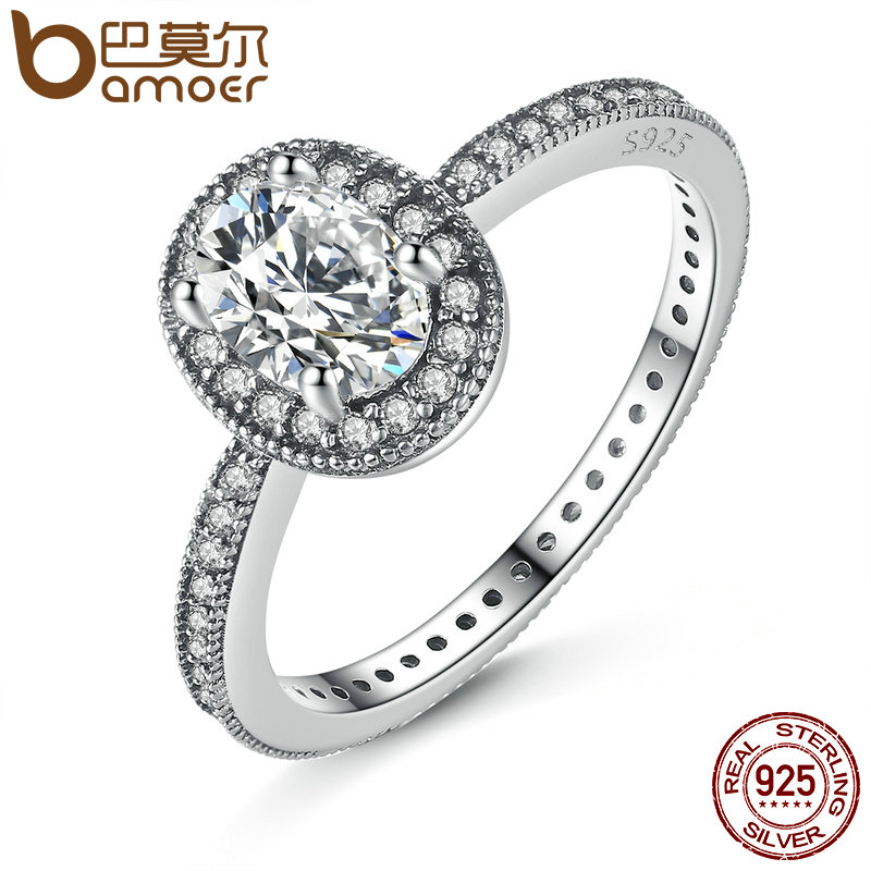 BAMOER 100% 925 Sterling Silver Vintage Elegance & Clear CZ Engagement Ring for Women Wedding Sterling Silver Jewelry PA7608 цена 2017