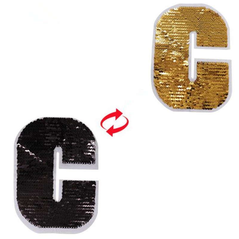 ShinEquin Golden C Icon flip the double sided Patches for clothing Diy Reversible change color sequins Patch T-shirt Stickers