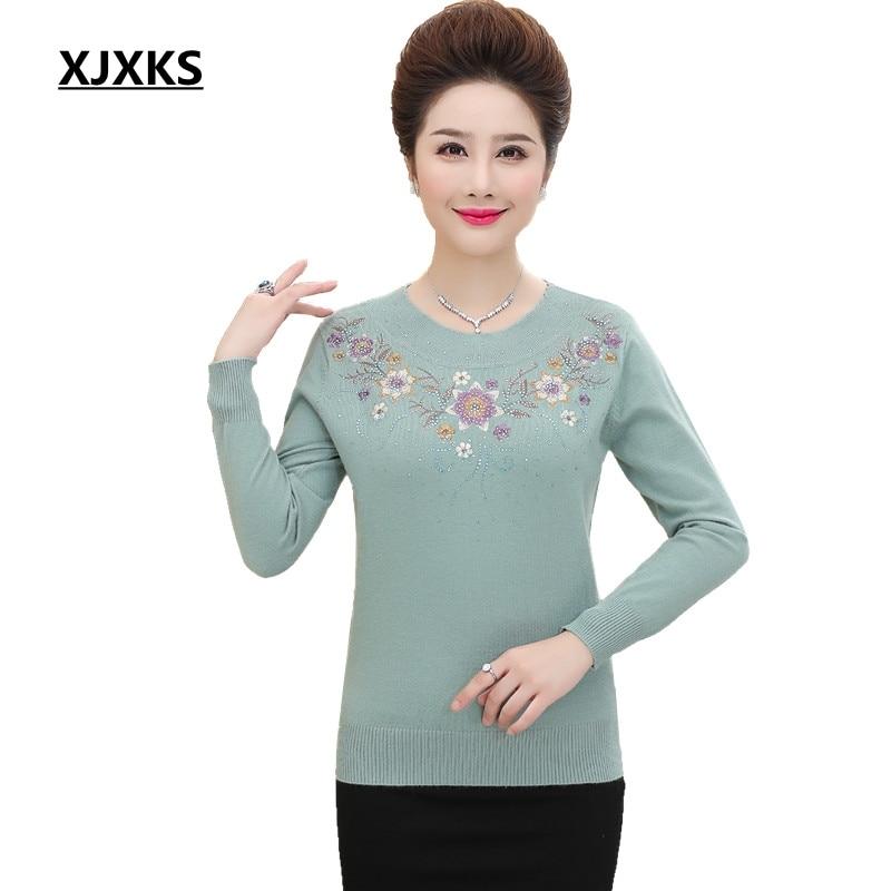 Xjxks новый 2018 вязаный свитер женский пуловер Emboridery цветы