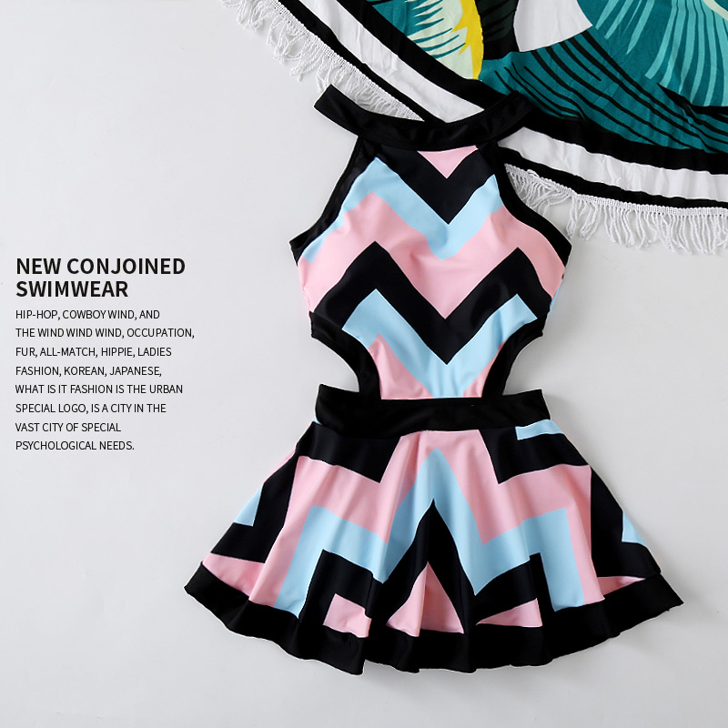 2017 Sexy Striped One-piece Dress Monokini Plus Size Women Padded Swimsuit Bathing Suit Swimwear pink black red color Beach wear women one piece triangle swimsuit cover up sexy v neck strappy swimwear dot dress pleated skirt large size bathing suit 2017