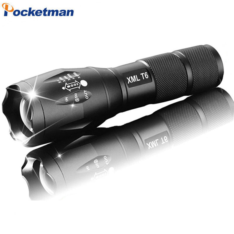 E17 LED Flashlight Zoom Torch Waterproof Flashlights XM-L T6 Q5 3800LM 3mode 5mode Led Zoomable Light Battery Free Ship