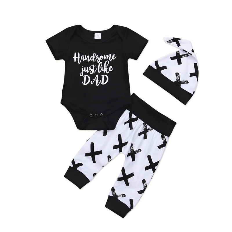 Newborn Baby Boys Girl Print Sunsuit Kids Casual Cotton Short Sleeve Romper Jumpsuit Bodysuit Pants Trousers Hat 3Pcs Clothes