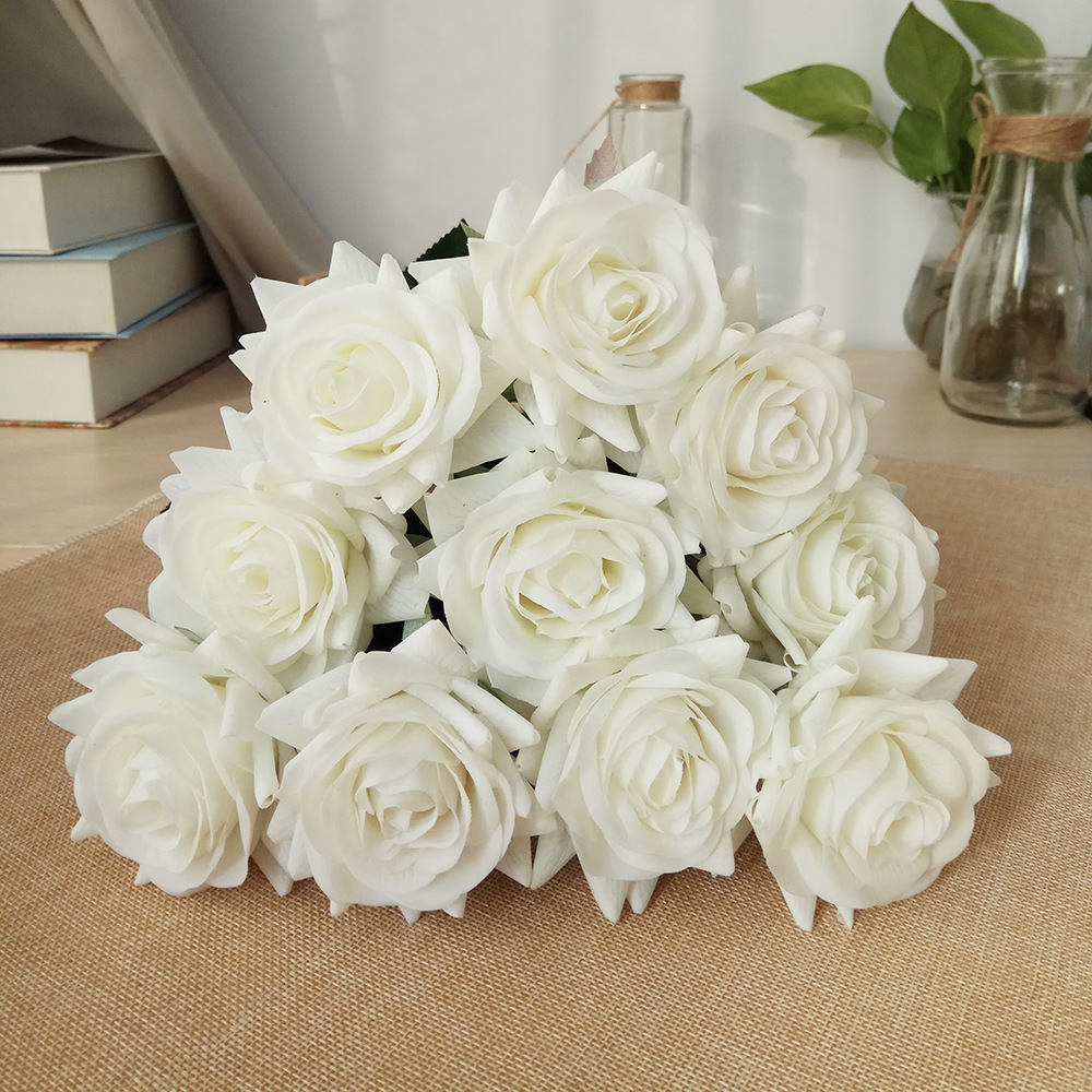 50 Pcs Real Touch Spring Latex Flowers Artificial Flowers Rose Decorative Flowers Bouquets Wedding Home Decoration