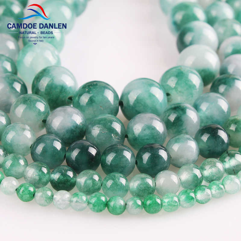 CAMDOE DANLEN Natural Jades Stone Green Stone Round Loose Beads 4 6 8 10 12MM Fit DIY Charm Bracelet Necklace Jewelry Making