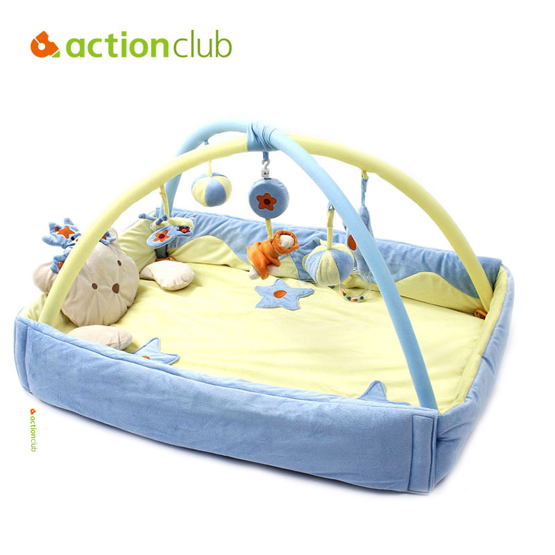 Actionclub Velvet 0-1Year Baby Play Mat Baby Toy Tapete Infantil Educational Crawling Gym Mat Foldable Music Game Carpet