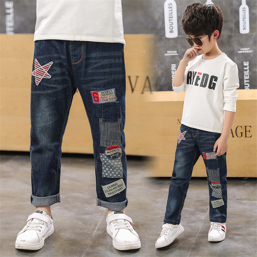4-12 y boy kids jeans fashion denim pants for boys children clothes trousers elastic waist jeans pant 8 10 years old On Sales(China)