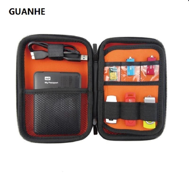 GUANHE დიდი ზომის ელექტრონული საკაბელო ორგანიზატორი ჩანთა USB Flash წამყვანი მეხსიერების ბარათი 2.5 დიუმიანი HDD Case მოგზაურობის შემთხვევა 18x12x4.8cm