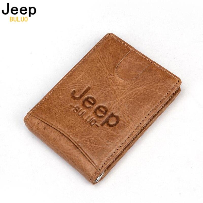 JEEP BULUO Echtem Leder Karte Fall Taschen Super Dünne Echt Kuh Leder Männer Brieftaschen Geldbörse Mini Mode Marke Heißer Verkauf USA JEEP100