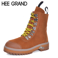 HEE GRAND Metal Decoration Motorcycle Boots Round Toe Ankle Fashion Boots Medium Thick Heel Women Winter