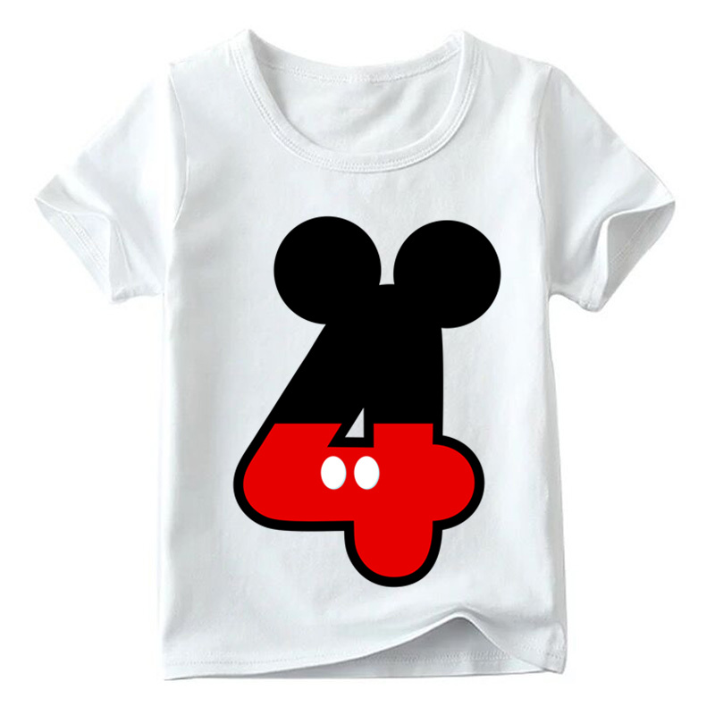 Baby Boys/Girls Happy Birthday Letter Bow Cute Print Clothes Children Funny T shirt,Kids Number 1-9 Birthday Present,HKP2416 28