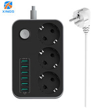 EU Plug Power Strip Socket 3 Outlets 6 USB Outlet AC Charger Adapter 2500W With Extension 2M Cord Cable