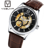 YISUYA Men Watches Luxury Brand Hand Wind Skeleton Mechanical Men Watch Steampunk Women Wristwatch With Leather