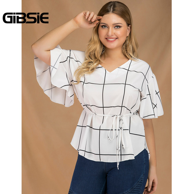 GIBSIE Plus Size Tie Waist Plaid Shirt Top Women 2019 Summer Fashion V-Neck Butterfly Sleeve Casual Ladies Tops and Blouses 1