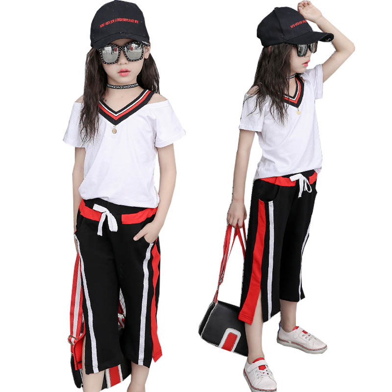 Summer Kids Tracksuit Costume Girls Children's Clothing Striped V-neck T Shirt Pants 2pcs Kids Sport Suits for Girls Clothes Set striped v neck jumpsuit