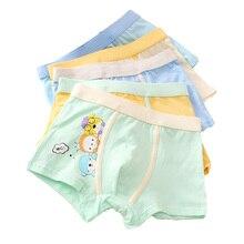 5pcs/lot High Quality Boy Panties Cotton Children Cartoon Printing Breathable Flat Angle Pupils Underwear Boxer 4-12y