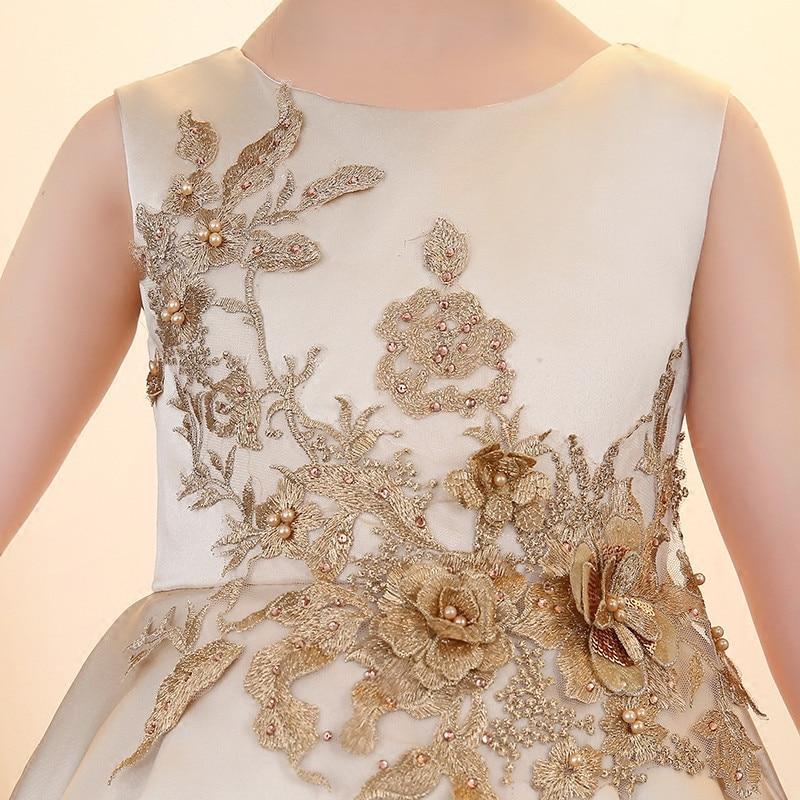 2019 New Children Girls Elegant champagne Color Birthday Wedding Evening Party Dress Babies Kids Ball Gown Tutu Costume Dress