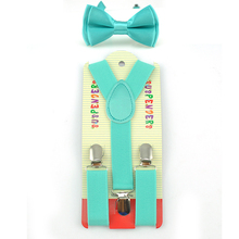 Эластичные подтяжки с галстуком-бабочкой, комплекты с подтяжками и бабочками в форме Y, модные детские комплекты для мальчиков и девочек с узором «мятно-зеленый», 22 цвета