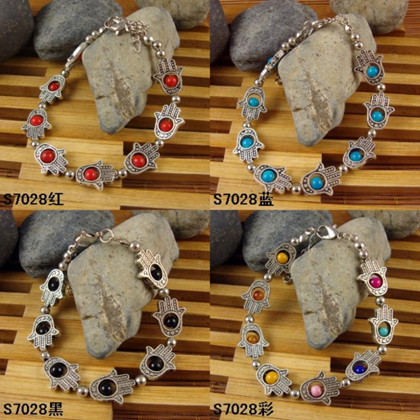 New fashion stone Antique tibetan silver bead charm with hand bracelet
