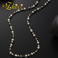 ZHIXI Fine Jewelry Long Pearl Necklace 9K Yellow Gold Natural Pearl Sweater Chain Near Round Anniversary