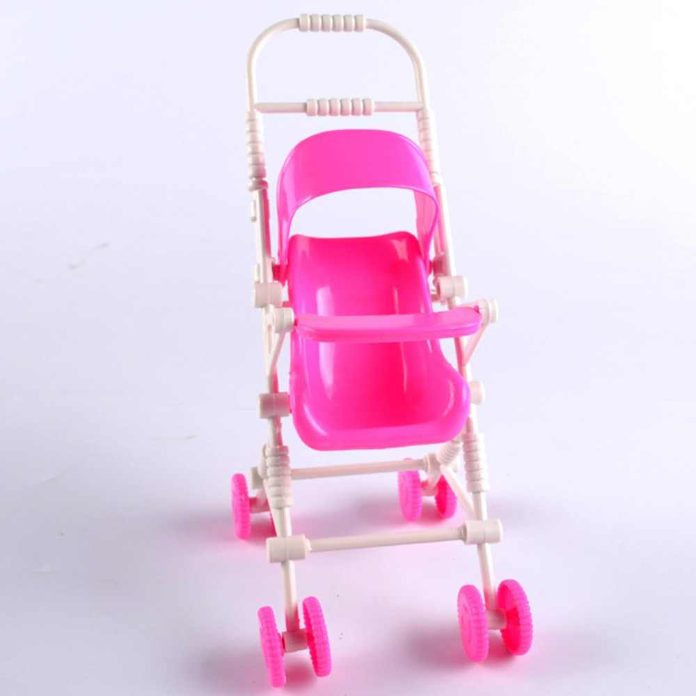 Pink Baby Stroller for Doll Toy Infant Kids Carriage Stroller Trolley Nursery Toy for Baby Girl's Dolls Furniture Girls Gifts