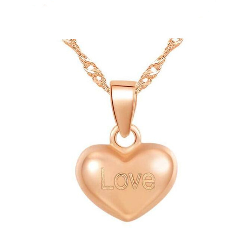 Fashion 18K Gold Love Heart Necklace Pendant Charm Gold White Rose Color Polished For Women AU750 Jewelry Fine Gifts недорго, оригинальная цена