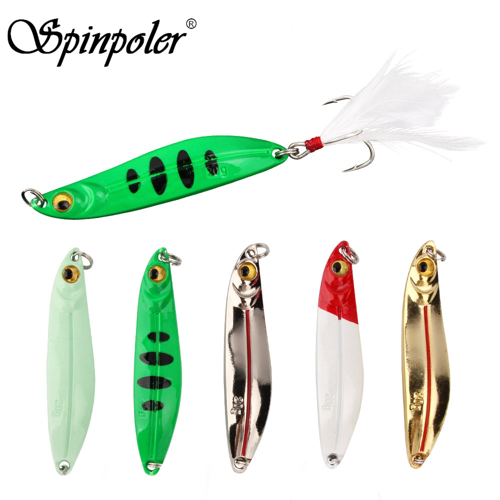 Bass Hook Feather Metal Fishing Lures Jig Bait Spinning Baits Lead Casting