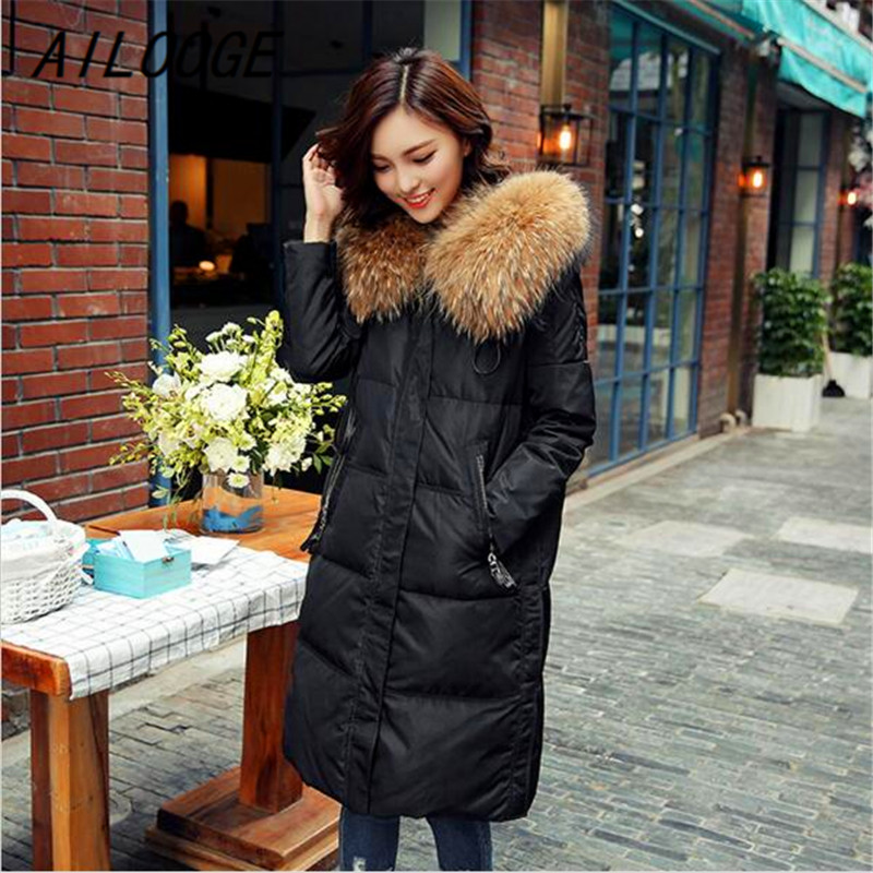 AILOOGE Women Winter Jackets Parkas 2017 Cotton Coat Large Raccoon Fur Collar Thickening Jacket Outerwear Female Snow Wear Brand