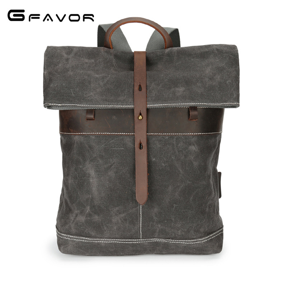 G-favor Waterproof Travel Backpack Men Canvas&crazy Horse Leather Shoulder Bag Male Vintage Men's Bags