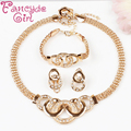 Fancyde Girl Brand Gold Plated Jewelry Sets for Women  Fashion Acrylic Crystal Pendant Necklace Earrings and Ring Set Christmas