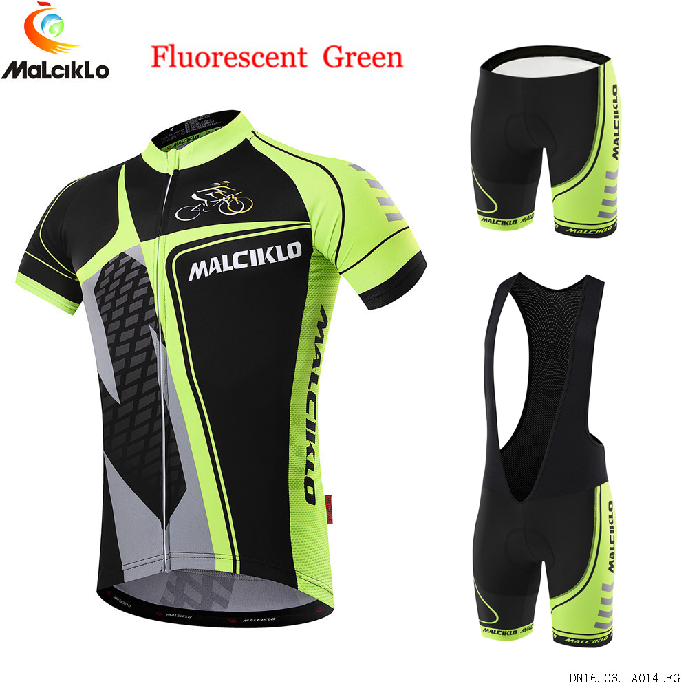 Prix pour Malciklo Hommes Cyclisme Kit 2017 New court Jersey Fluor vert Cyclisme Trekking Bike ensembles Vêtements De Vélo Bleu Noir Triathlon