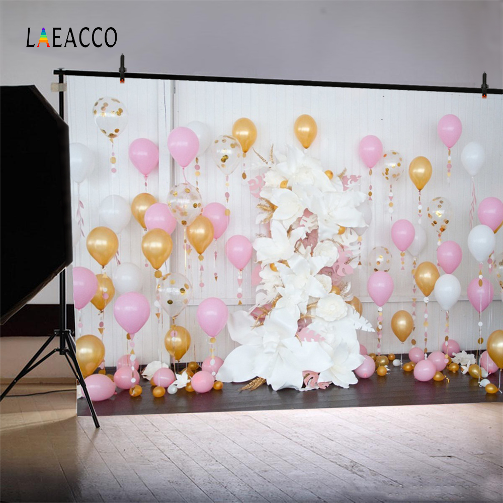 Globos de colores Laeacco Flores Fondo de fotografía de cumpleaños - Cámara y foto - foto 4