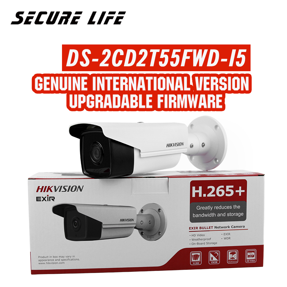Free shipping English version DS-2CD2T55FWD-I5 5MP Network Bullet IP security Camera POE SD card 50m IR H.265+ free shipping hikvision english version ds 2cd2t42wd i5 4mp bullet ip camera exir security camera poe 50m ir h 264