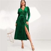 6c96ed495e COLROVIE zielony solidny dekolt w serek Puff rękawem krawat podział  aksamitna sukienka wieczorowa kobiet 2018 jesień