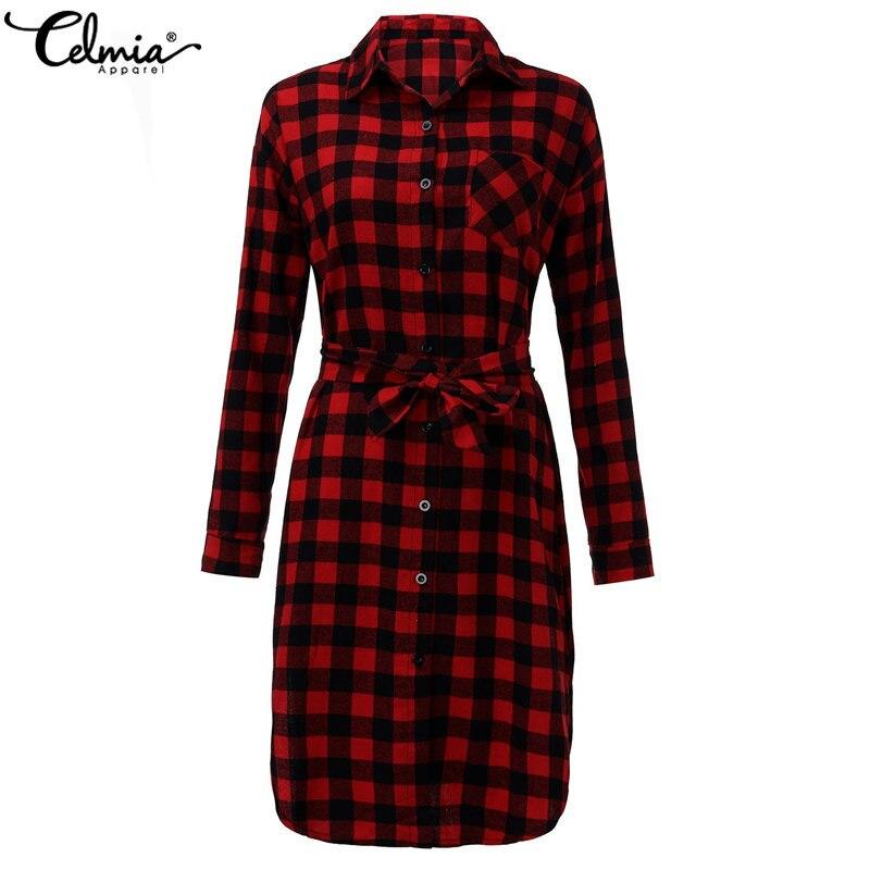 Celmia Plus Size Women Long Sleeve Shirt Dress 2018 Autumn Vintage Checked  Plaid Print Dress Lapel Belt Office Flannel Vestidos