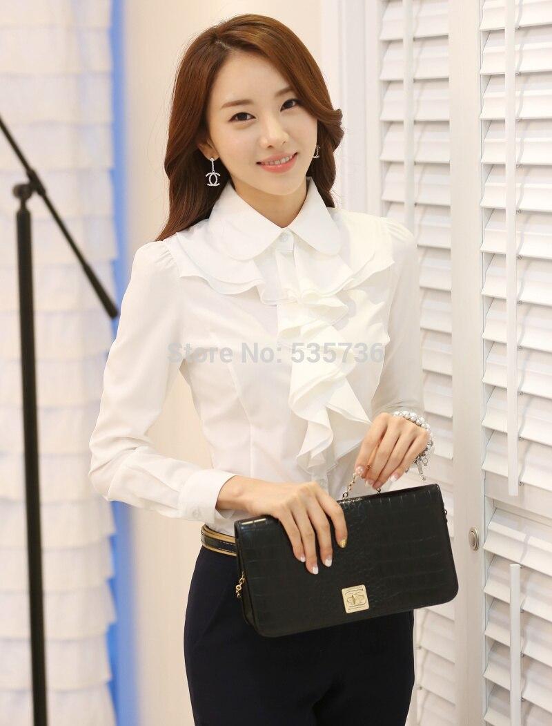 New Arrival 2017 Chiffon Long Sleeve Shirt Korean Style Fashion Ruffles Ladies White Black Office Blouses Women Cothes 8C81