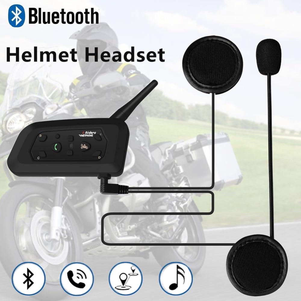 High Capacity Helmet Bluetooth Headset Motorcycle V6 Multi-functional  Headphones For 6 Riders Wireless Interphone MP3 GPS