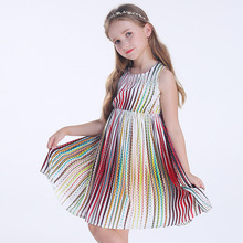 2018 Summer Dresses For Girls Casual Kids Floral Print Dress Sleeveless Beach Stripe Clothes