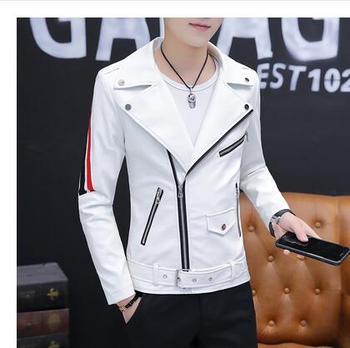 2019 men's personality leather coat men's leather jacket Europe and the United States fashion Slim locomotive men's clothing