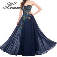 2019 new embroidered peacock dress mopping long navy blue purple black dress gown chiffon