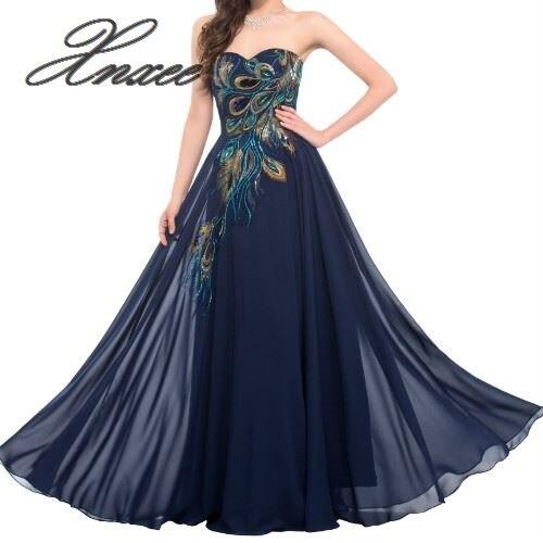 2019 nouveau brodé paon robe vadrouille longue bleu marine violet noir robe robe en mousseline de soie