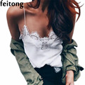 Feitong Sexy TankTop Женщины Короткий Топ Кружева Холтер Bralette Bralette Жилет Обрезанные Топ Кружева Обрезанные Feminino