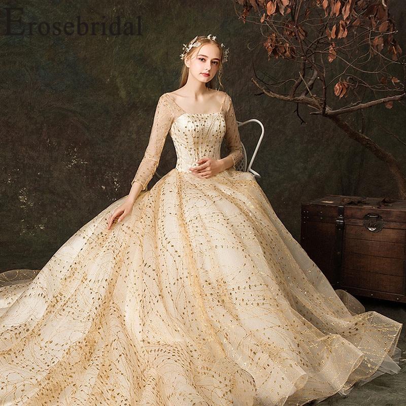 2019 Wedding Ball Gowns: Erosebridal Gold Ball Gown Wedding Dress 2019 Long Sleeve
