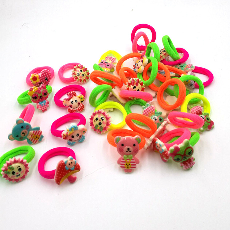6PCS/lot Peppa Hair Ties Rubber Band Cartoon Hair Gum Scrunchy Silicone Hair Clip Hairpin Hair Accessories For Girl Kid Hairband