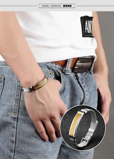 мужской винтажный браслет из титановой стали регулируемый фотография