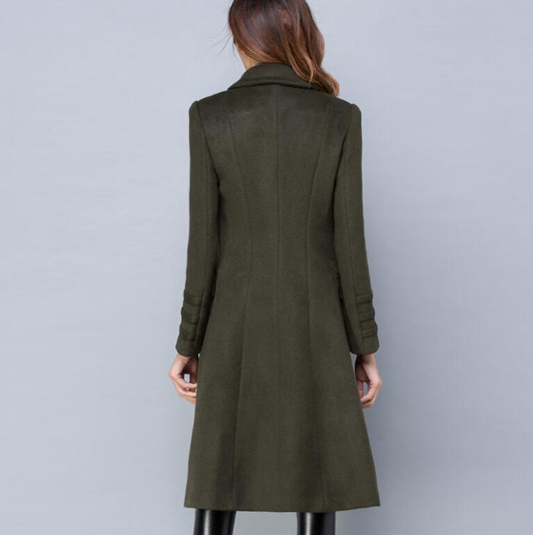 De Classique Double Hiver Mélanges Longues Pardessus Automne Cachemire Manteau Outwear breasted R524 Army Femmes Laine Mode Green 2018 FXIqO