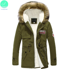 2017 Fashion Men's Long Winter Coats Hooded Casual Patchwork Thick Warm Men Jacket Long Parka Cotton Adjustable Waist Coat CMF03